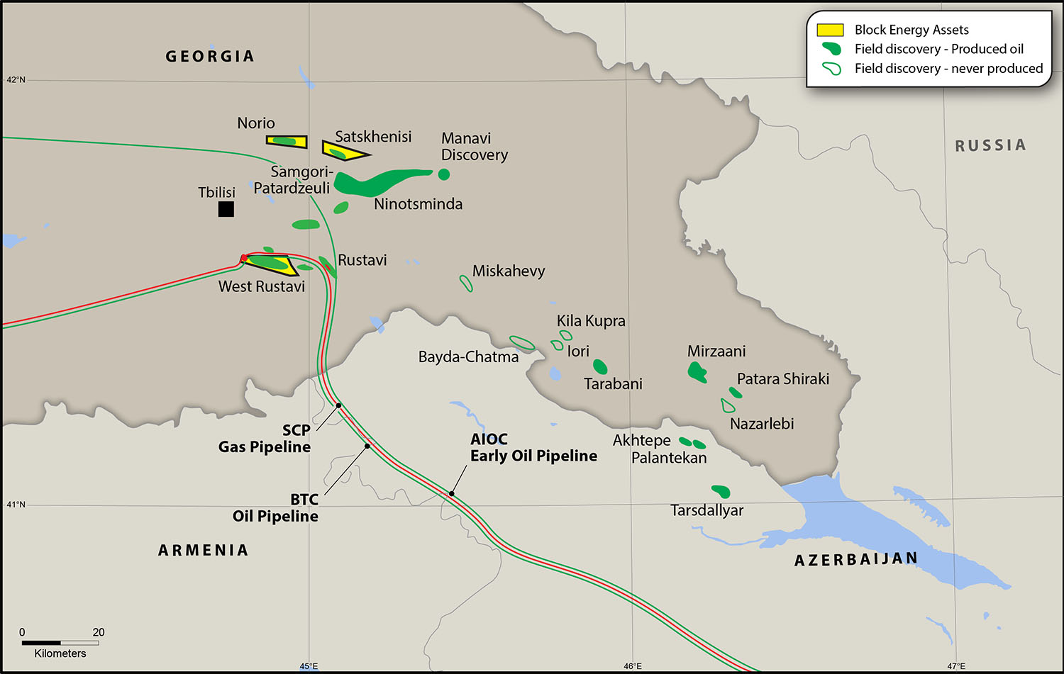 Oil and gas pipelines running through Georgia